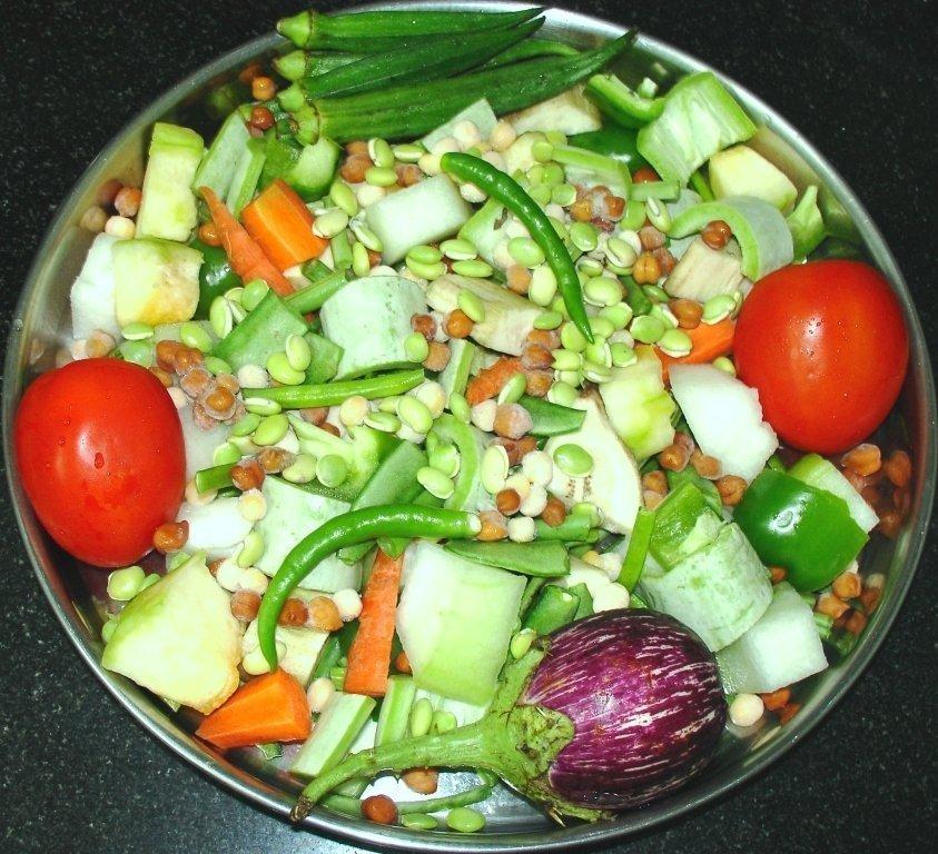 Groenten voor de sambar