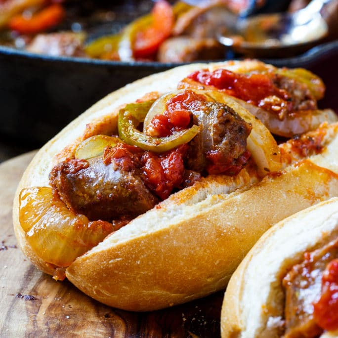 Sausages, peppers and onions